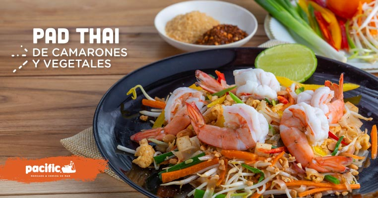 Receta Pacific: Pad Thai de camarones y vegetales